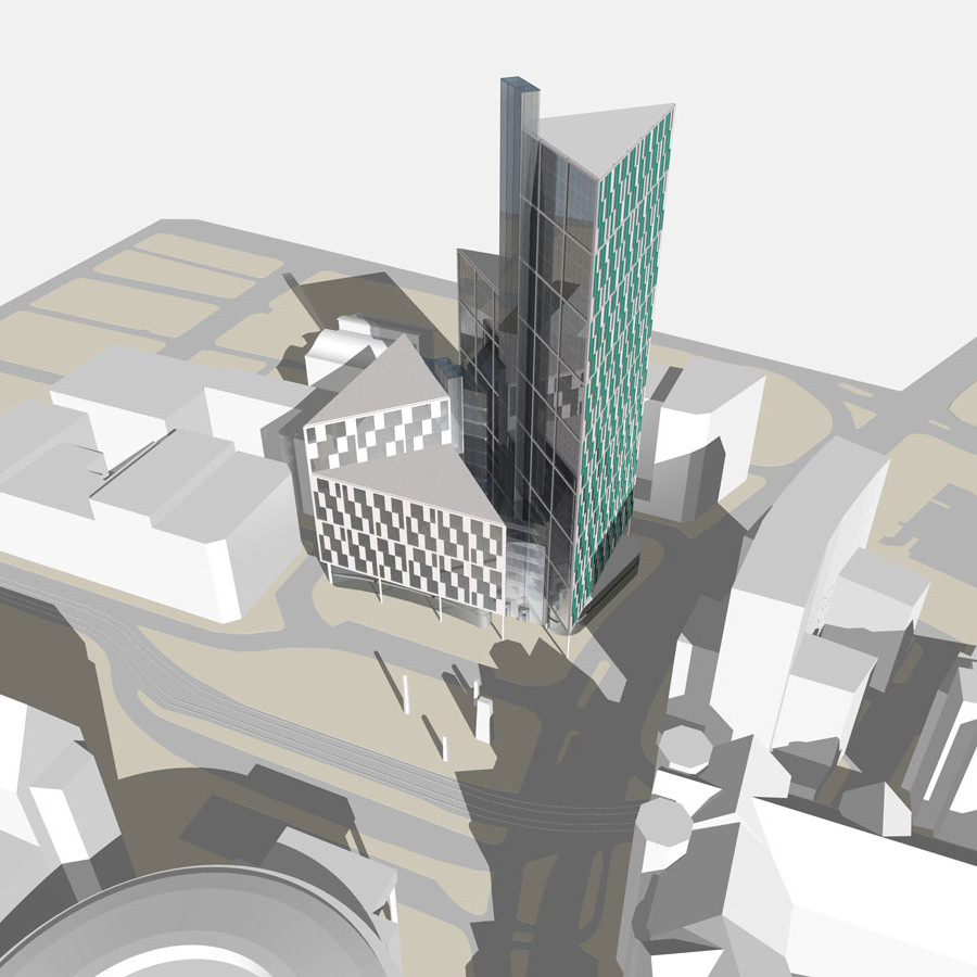 Limited Competition Entry -, St. Peter's Square, Manchester - 3D model of proposal in context.